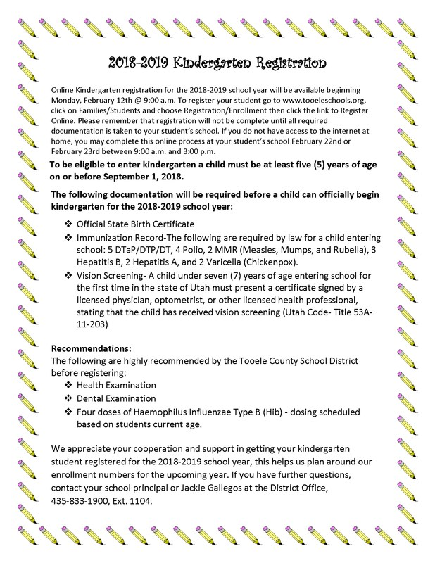 Kindergarten Registration information for 2018 to 2019