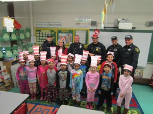 UC Police Department taking photo with the class