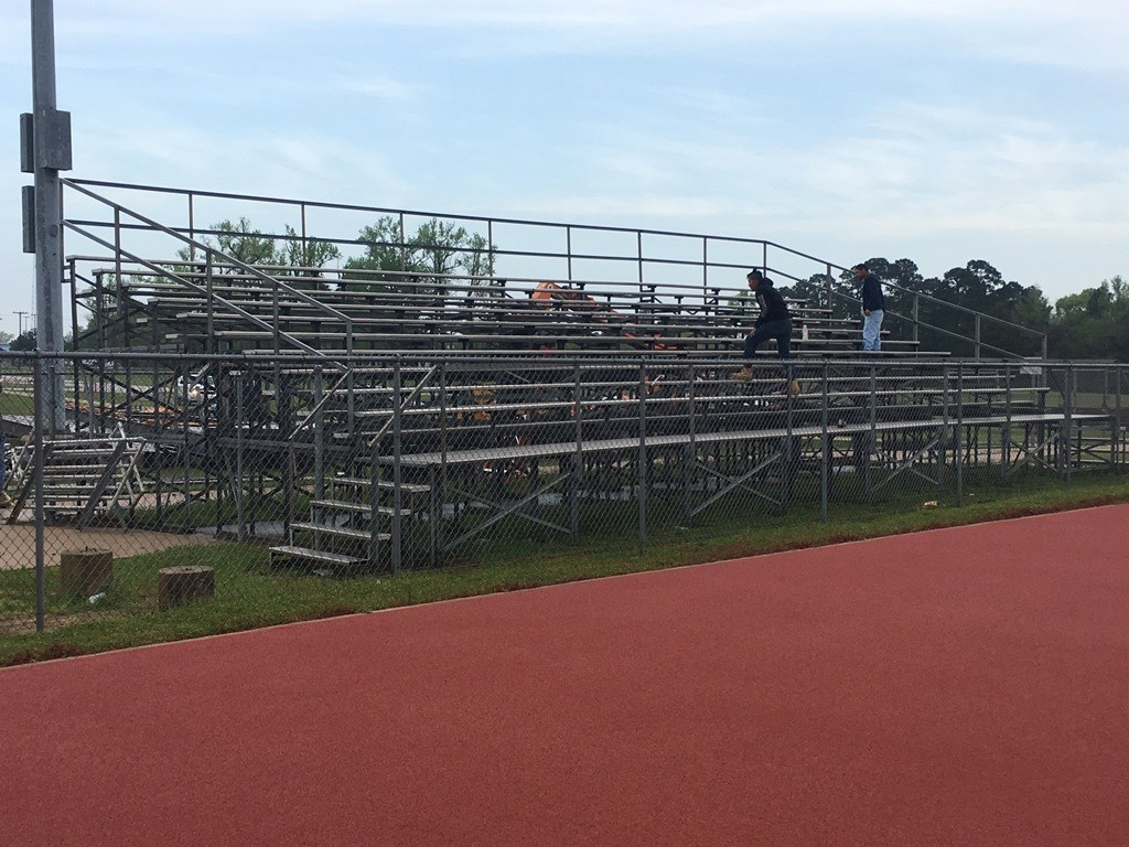 Photo of Trojan Stadium visitors' side bleacher removed