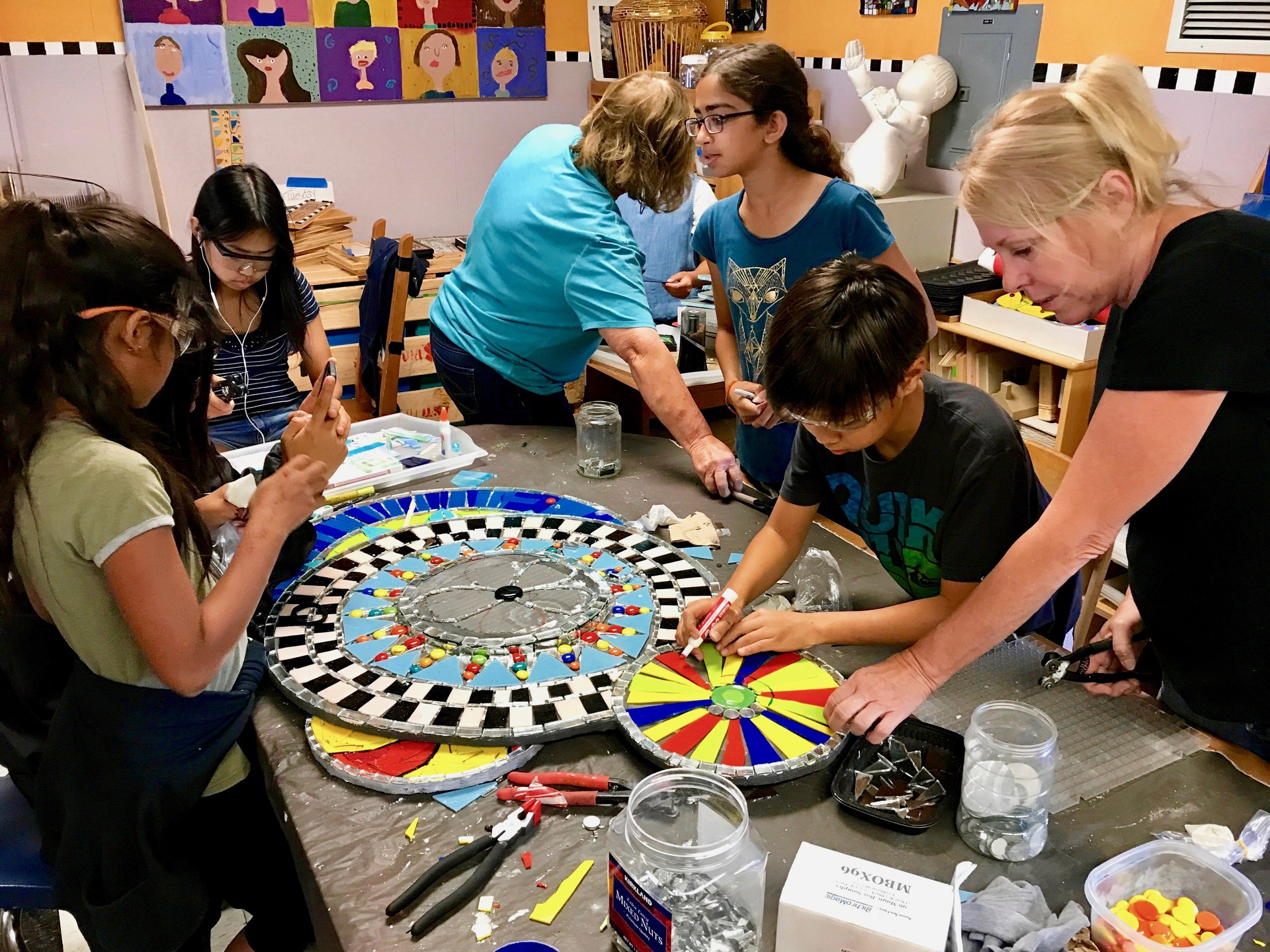 Students working on a mosaic project.