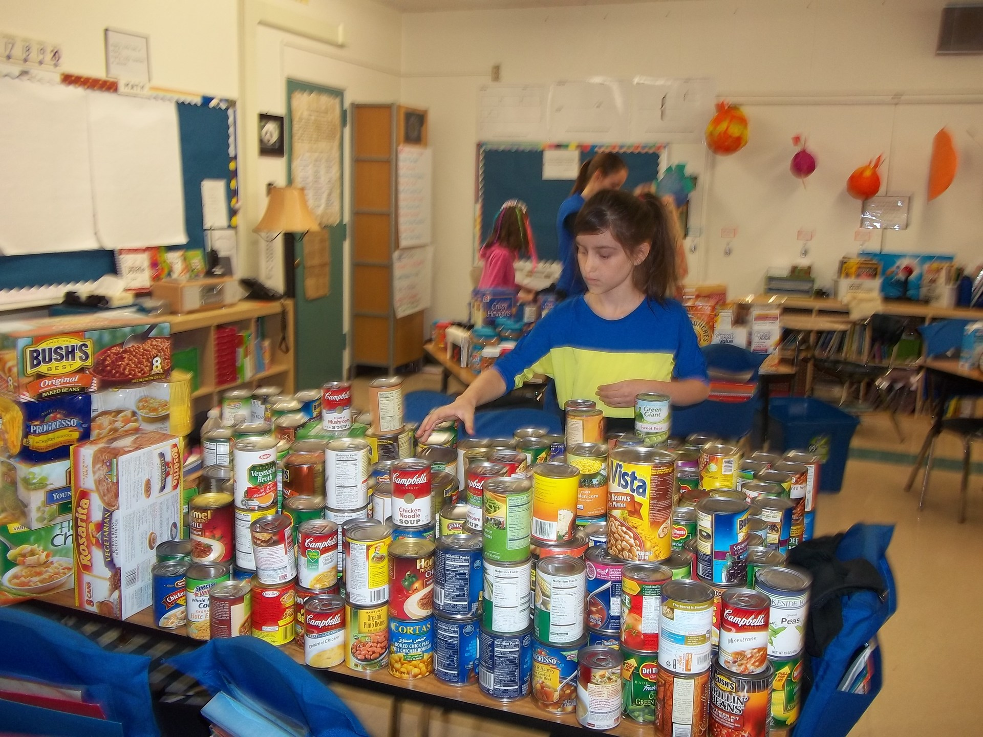 Students working on food drive