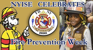 Poster of the NYISE Fire Prevention featuring Sparky the Firedog, a preschooler wearing a fire helmet and the logo of Engine Company 97 NYFD