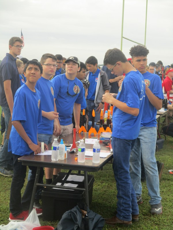 students building rockets