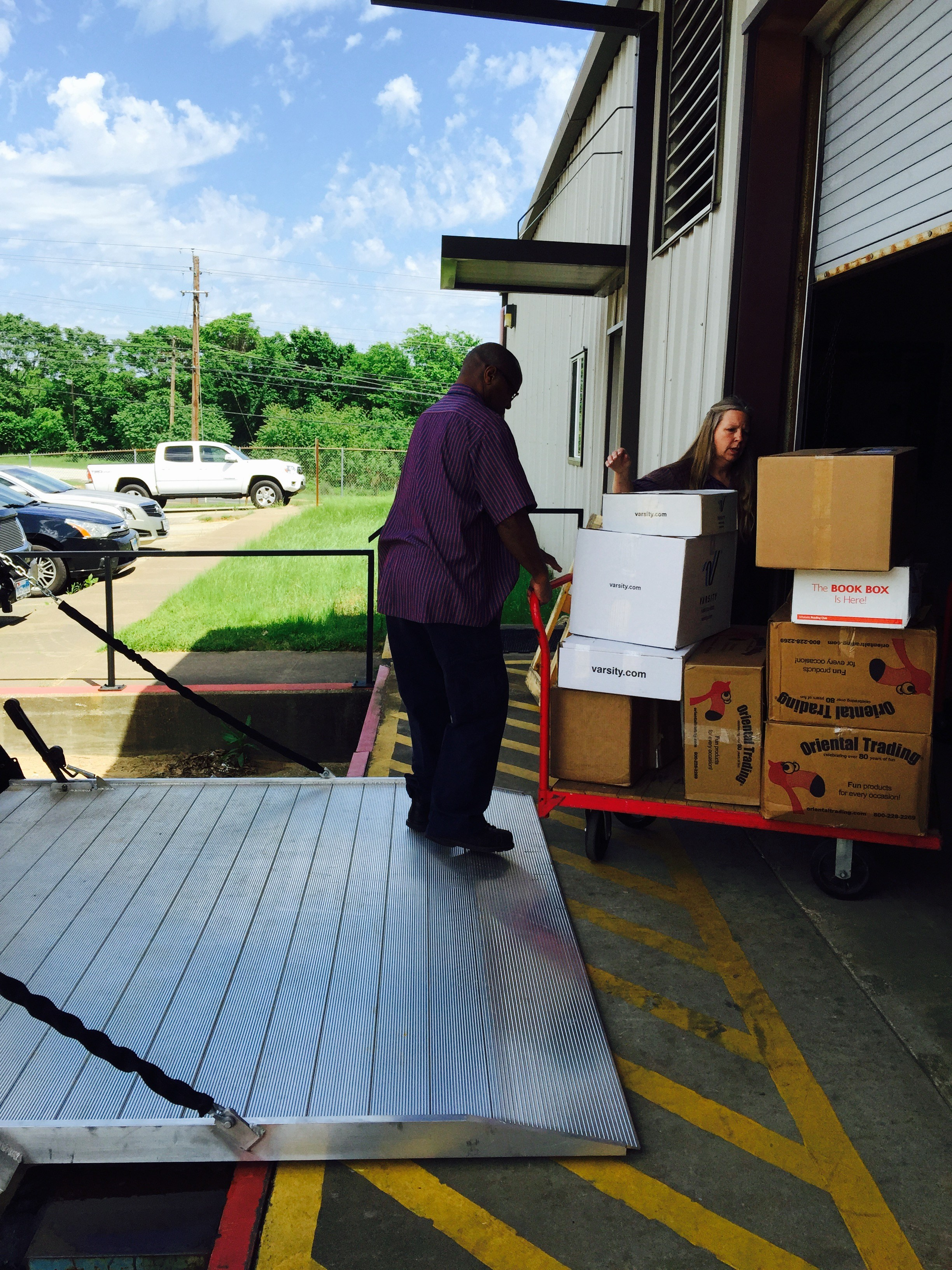 warehouse workers loading boxes