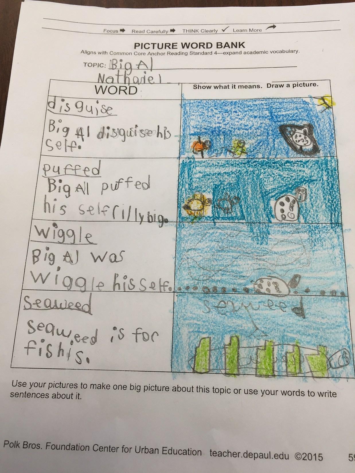 Student writing sample