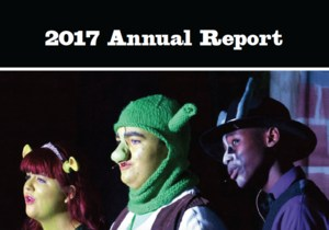 2017 Annual Report with photo from Shrek Jr musical