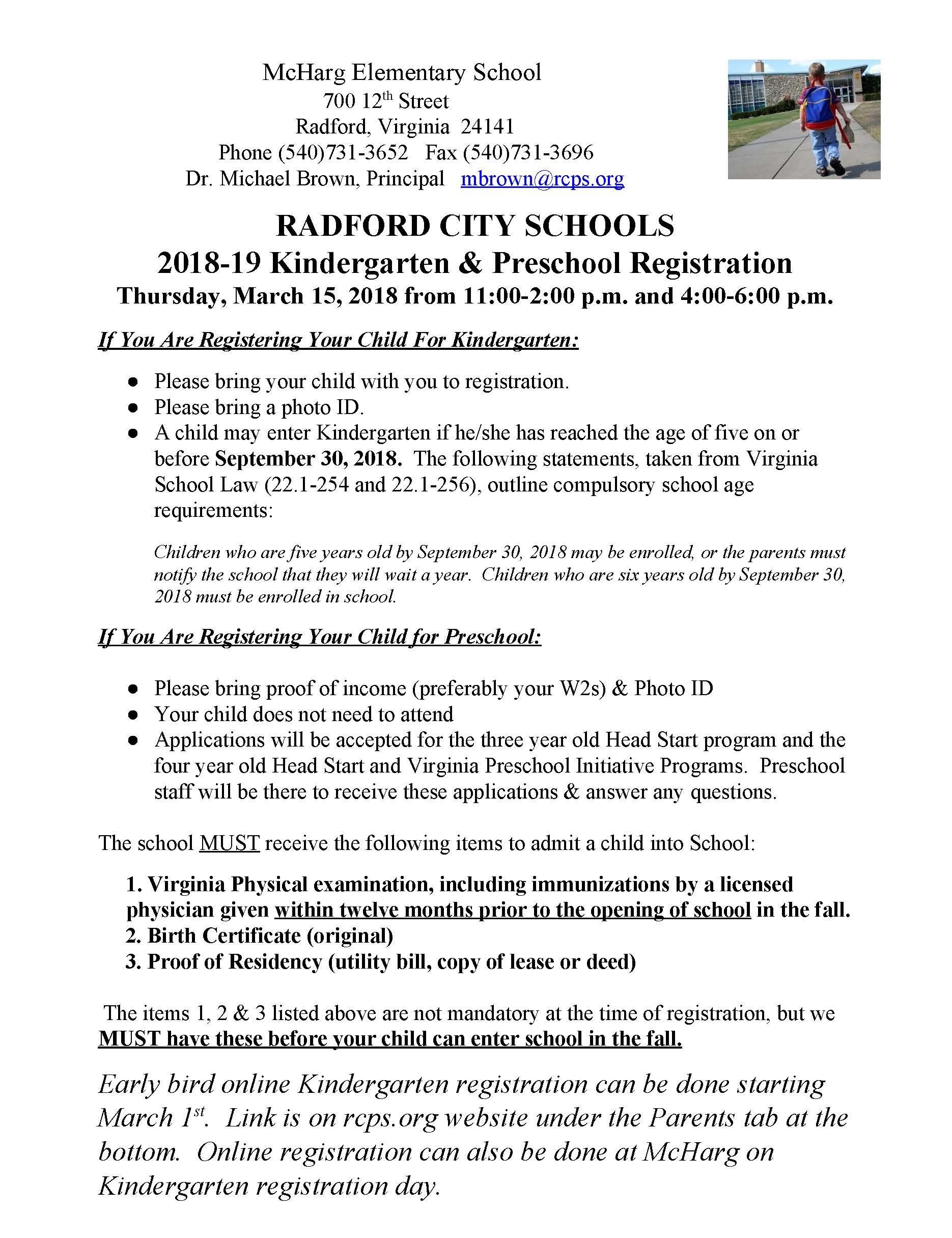 Kindergarten Registration Miscellaneous Radford City Schools