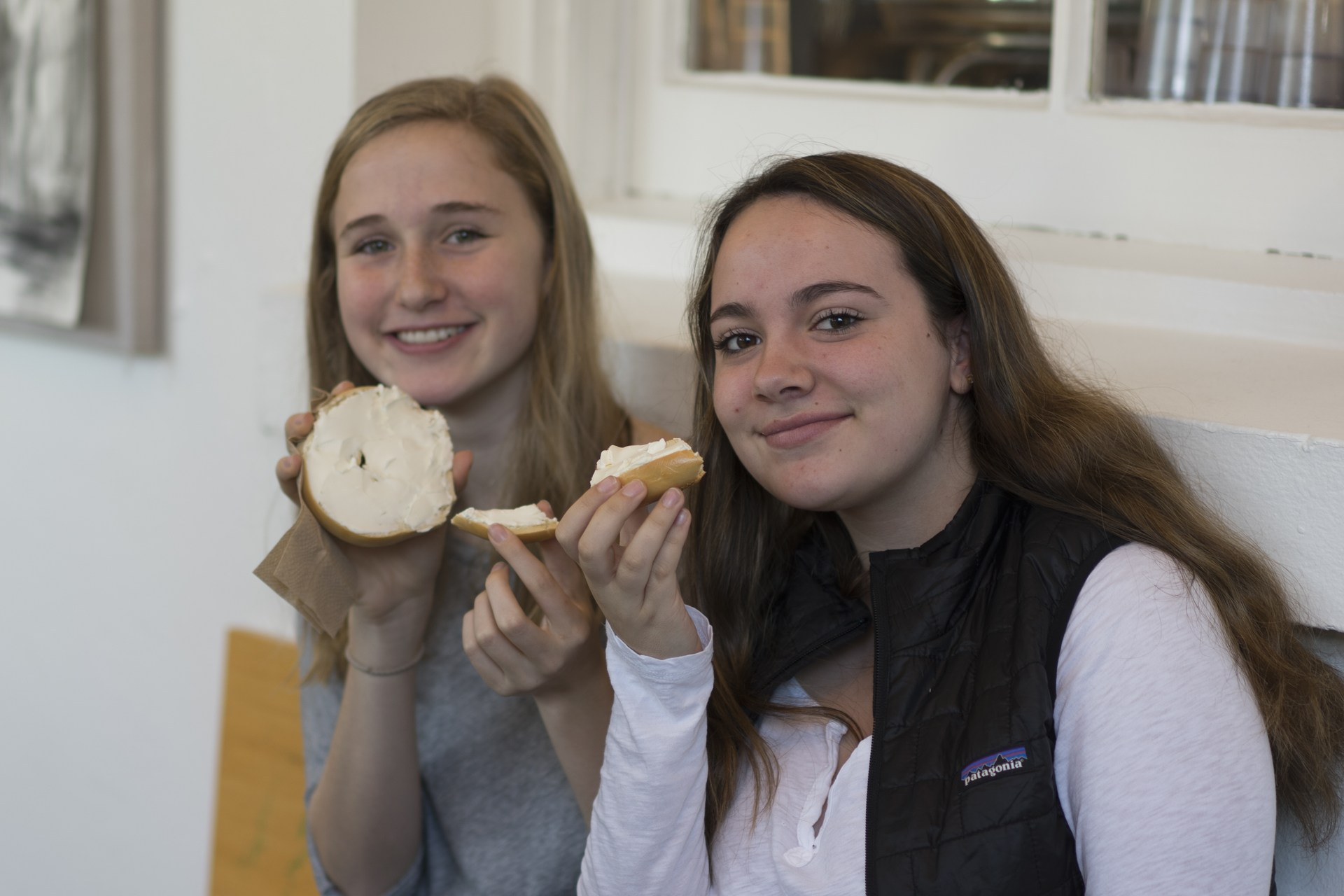 students with bagels