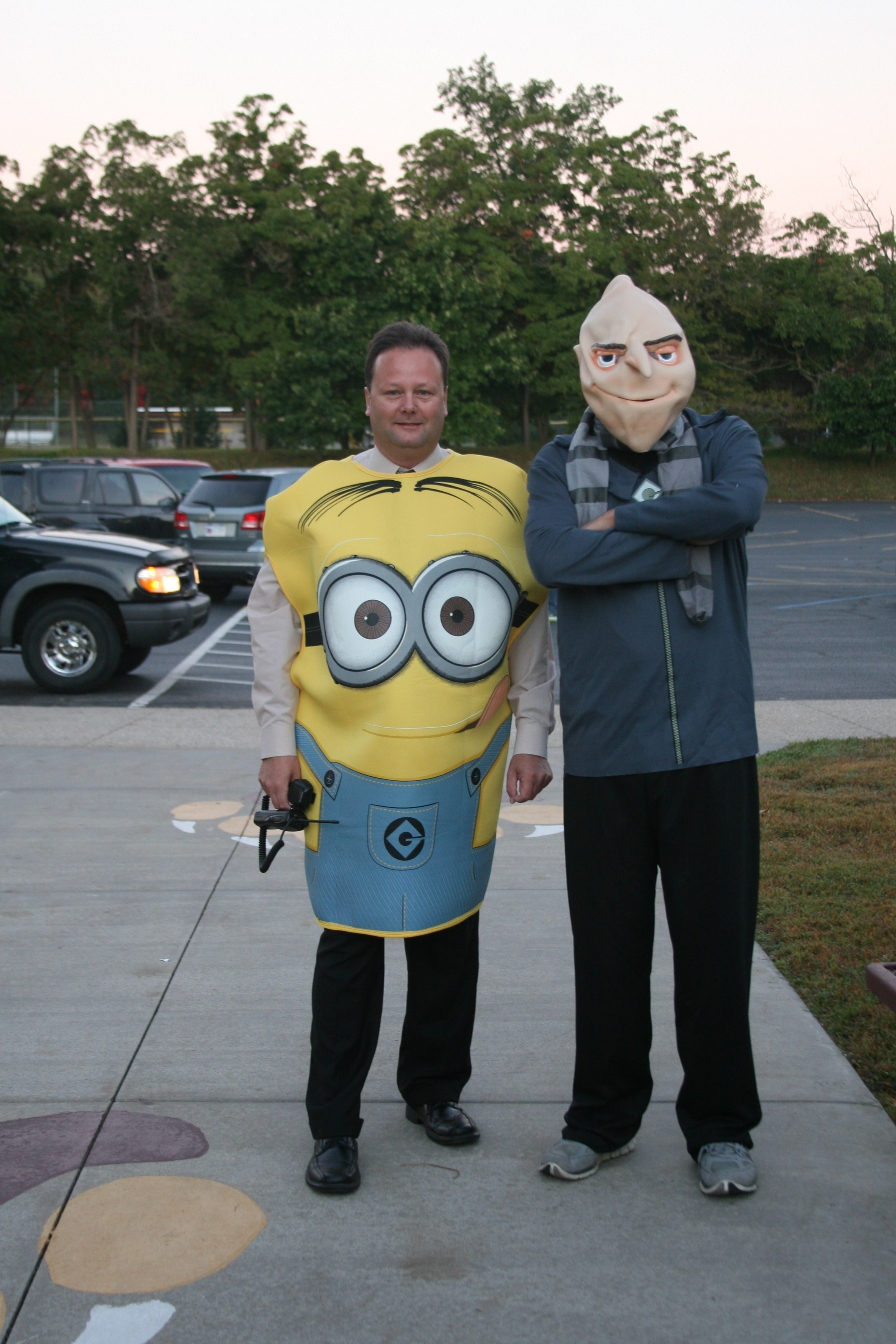 Mr Weckle and Mr Hood dressed up for homecoming.