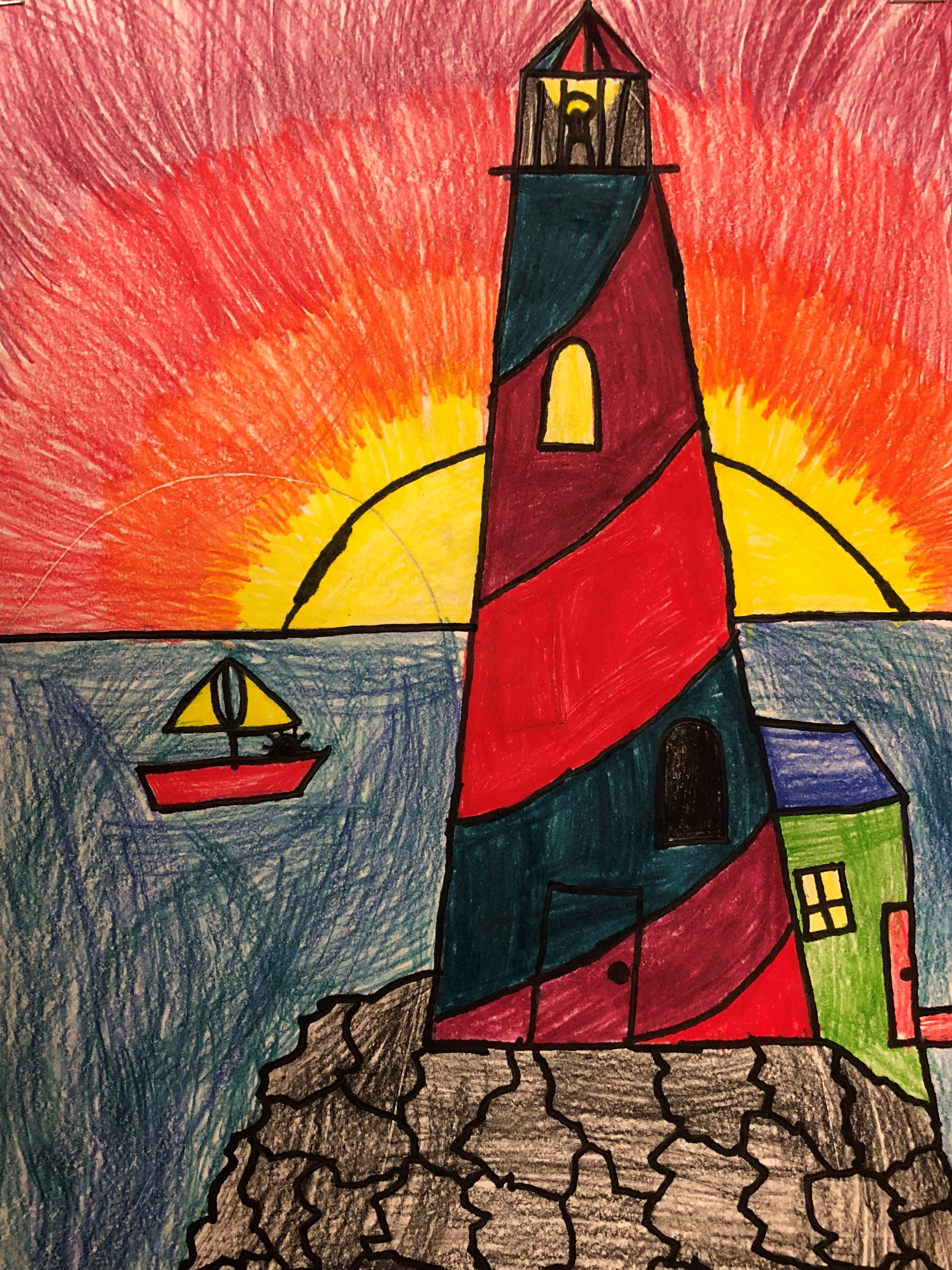 drawing of a boat and lighthouse