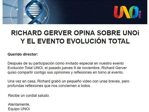 RICHARD GERVER OPINA SOBRE UNOi Y EL EVENTO EVOLUCIÓN TOTAL Featured Photo
