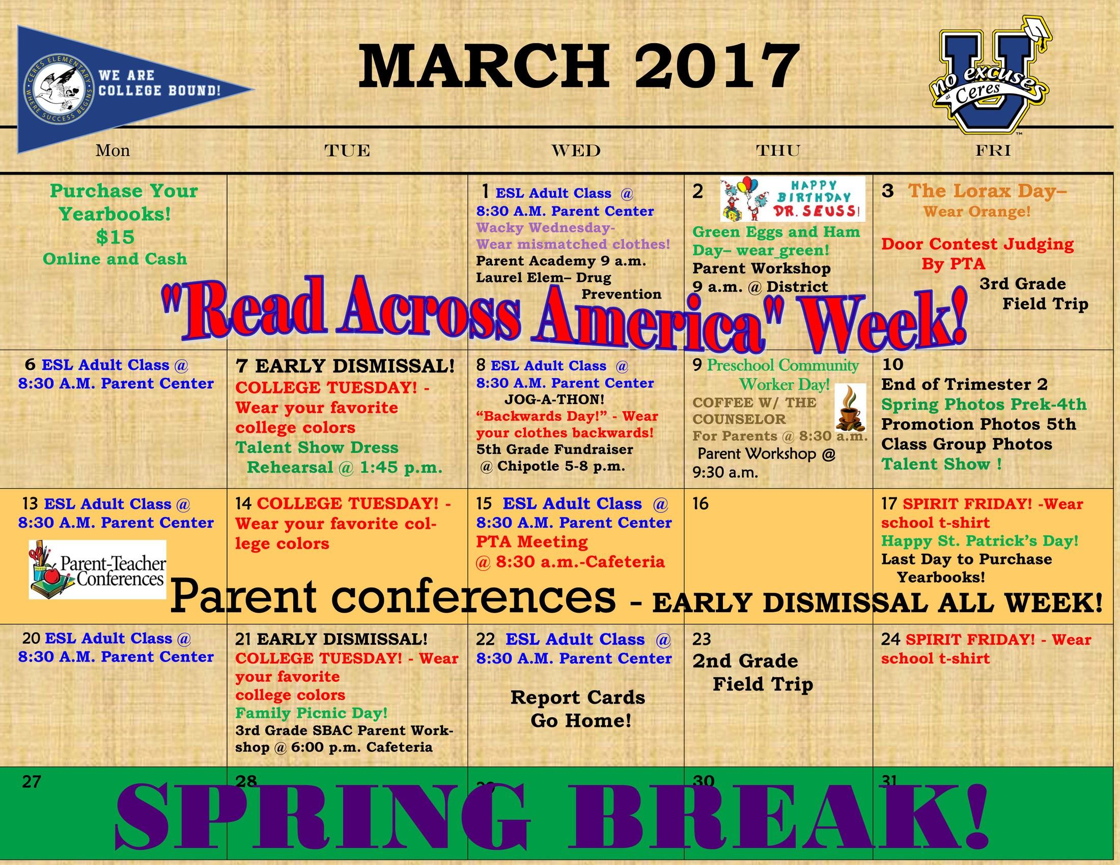 March 2017 school calendar
