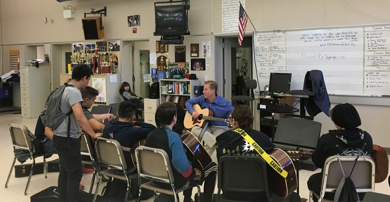 Branham High School Principal David Putney and students