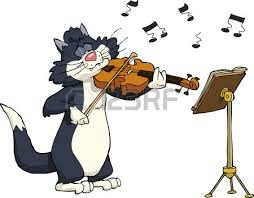 Cat playing the violin