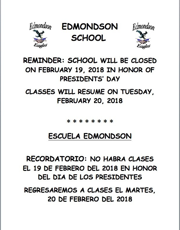 No school Monday February 19, 2018 / No escuela feb 19, 2018 Featured Photo
