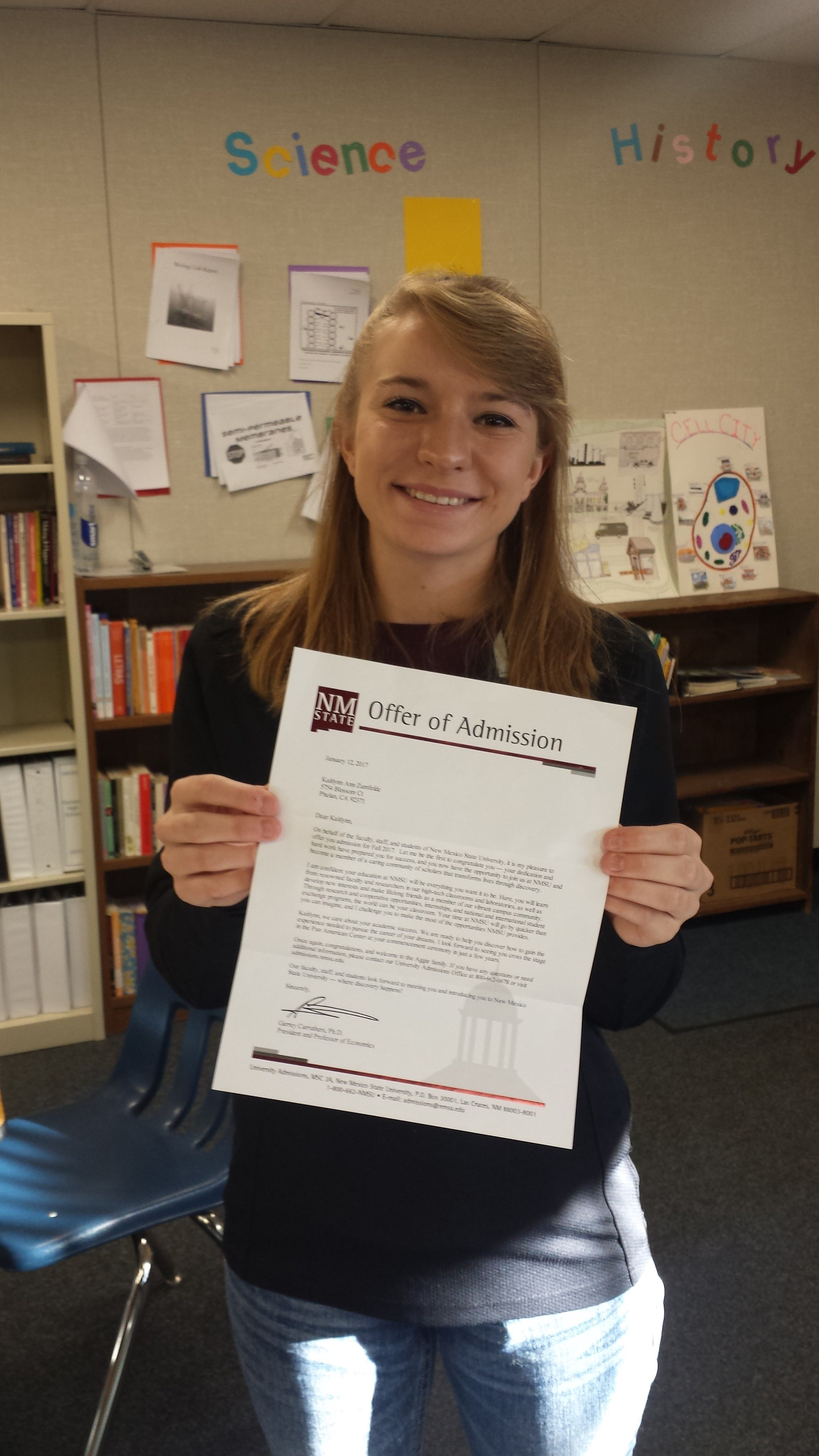 Student with college acceptance