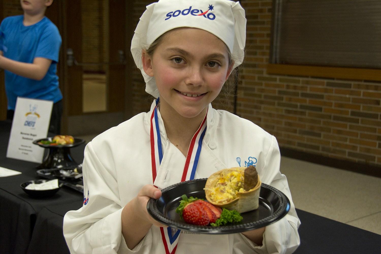 Winning chef with food