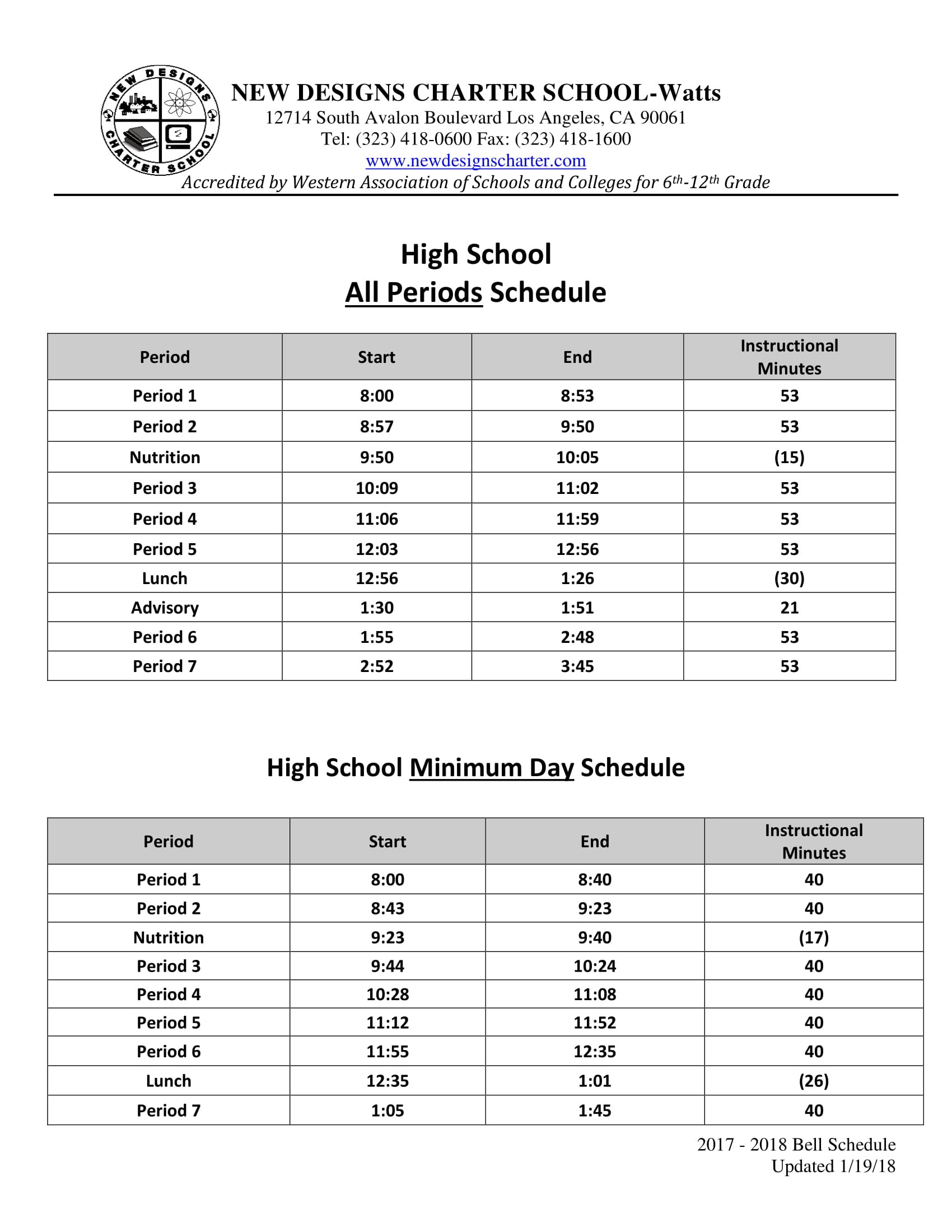 high school bell schedules