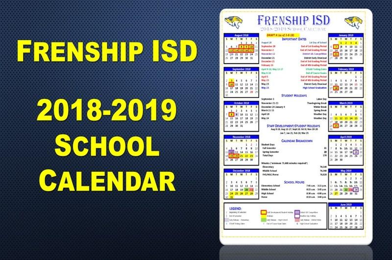 Frenship ISD 2018-19 Calendar