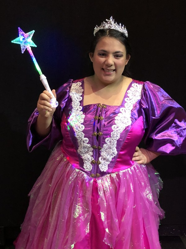 A picture of Alyssa Acob in costume for her role as the Fairy Godmother in the Red Devil Theatre's Spring Production of Cinderella in 2018.