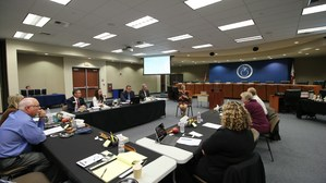 Superintendent Christi Barrett speaking to the Governing Board during the workshop