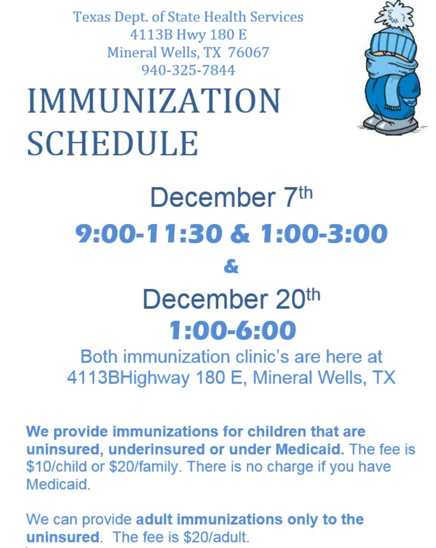 A flyer with dates, times and location of the immunization clinics.