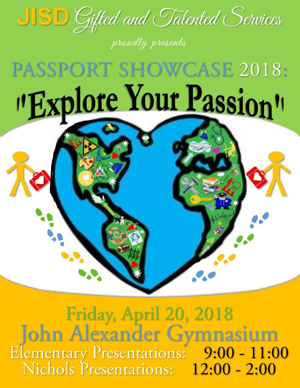 Flyer with the world in the shape of a heart about the Gifted and Talented Fair on April 20.