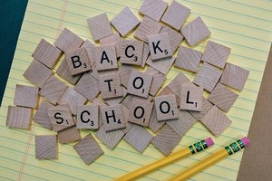 Back to School Text on Scrabble game pieces