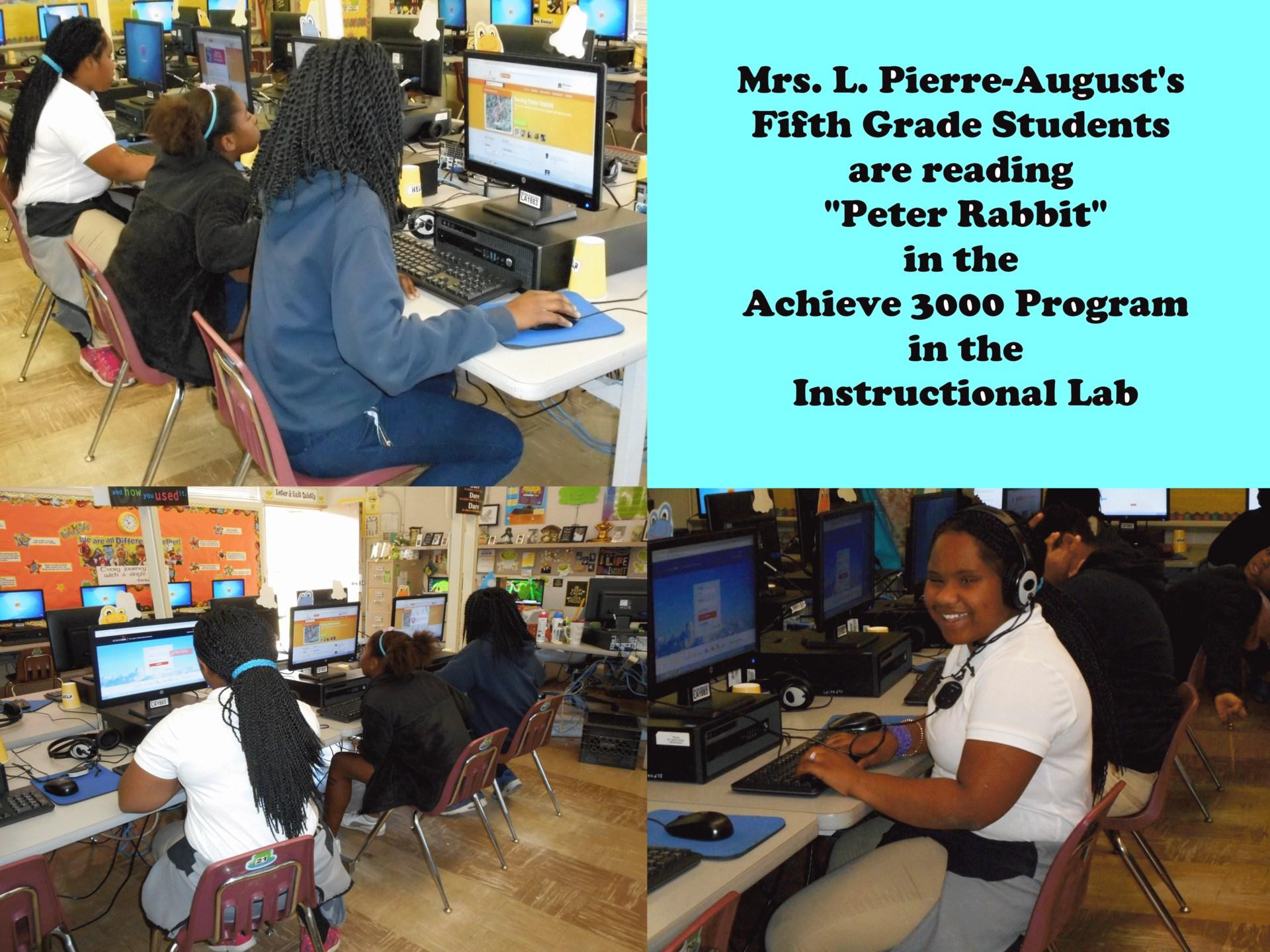 Ms. Pierre-August class practice in the Achieve 3000 program