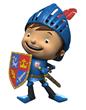Cartoon knight holding coat of arms shield.