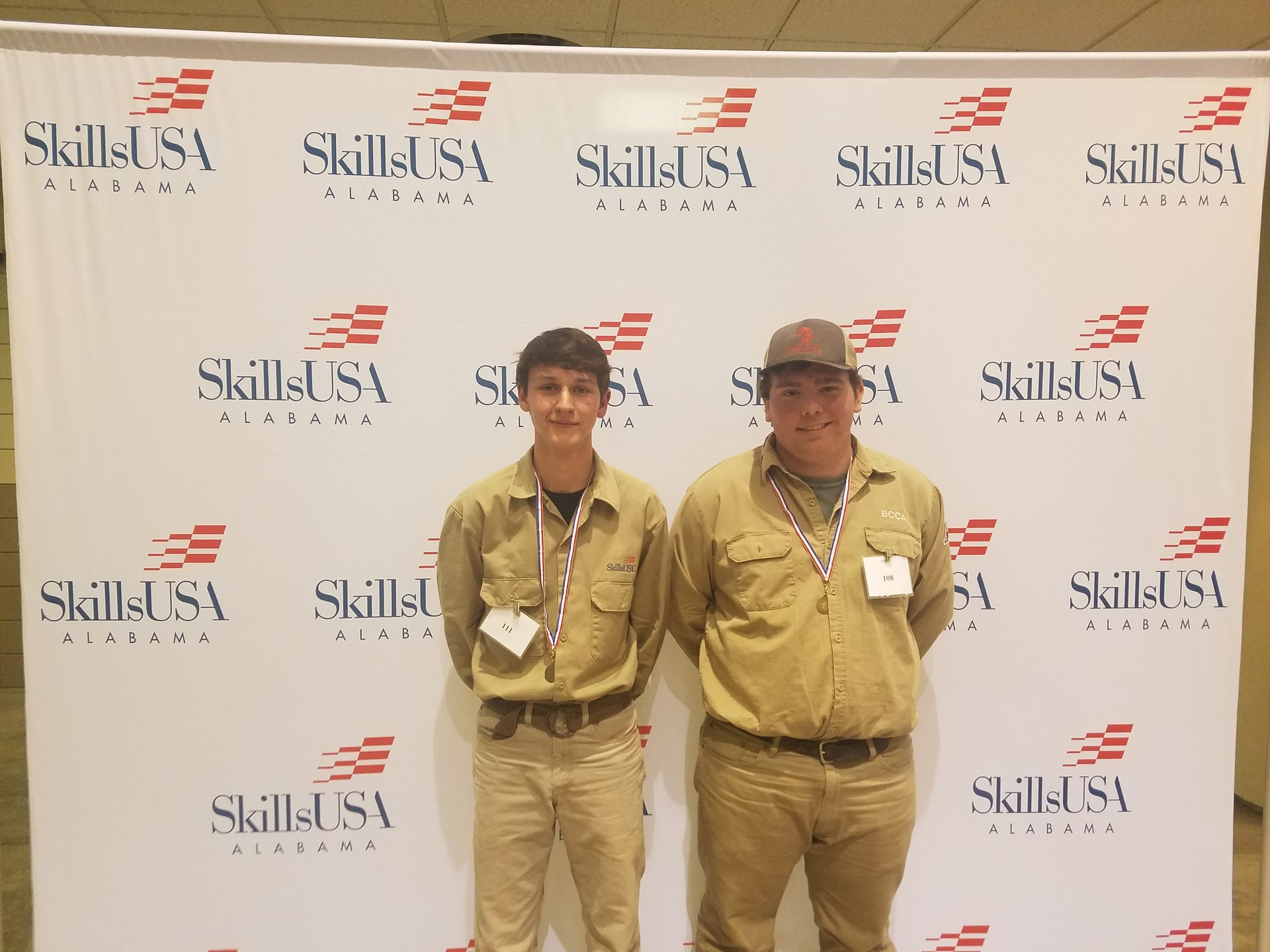 Welding students at SkillsUSA district competitions.