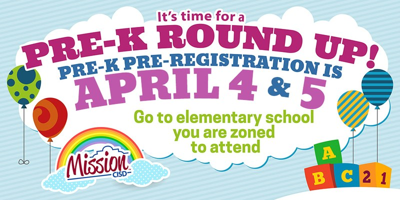 brightly colored graphic advertising the Pre-K Round Up on April 4&5