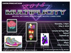 Black and Purple background with the title Multiplicity. A rose photo, sneakers, tiki mask and character in a hoodie.