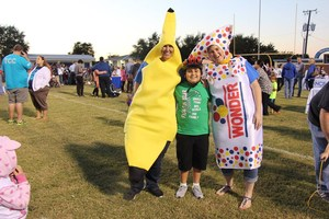 Costumed characters included a walking banana, pea and Wonder Bread.