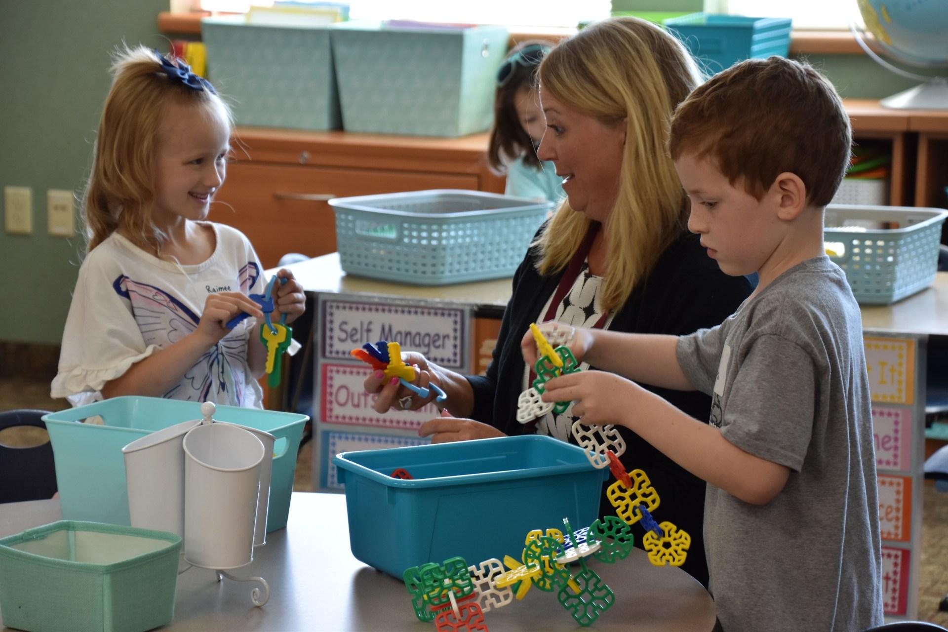 kindergarten students at orientation