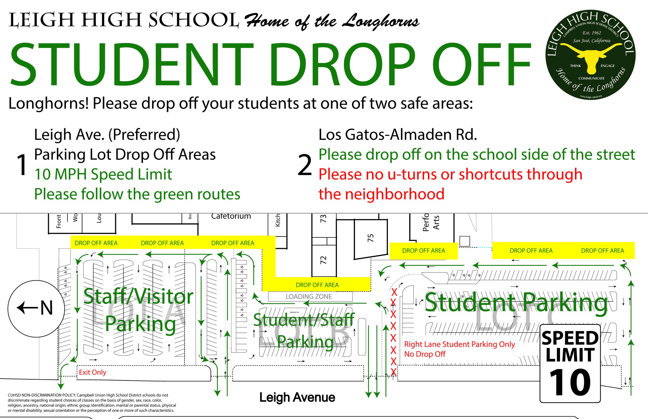 Map defining drop off areas in front of football field, back of the Cafeteria and Main Office area.