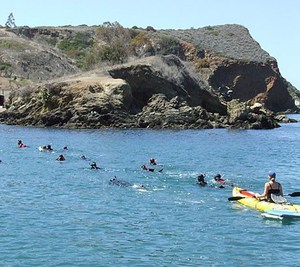 Students kayak at Catalina Island