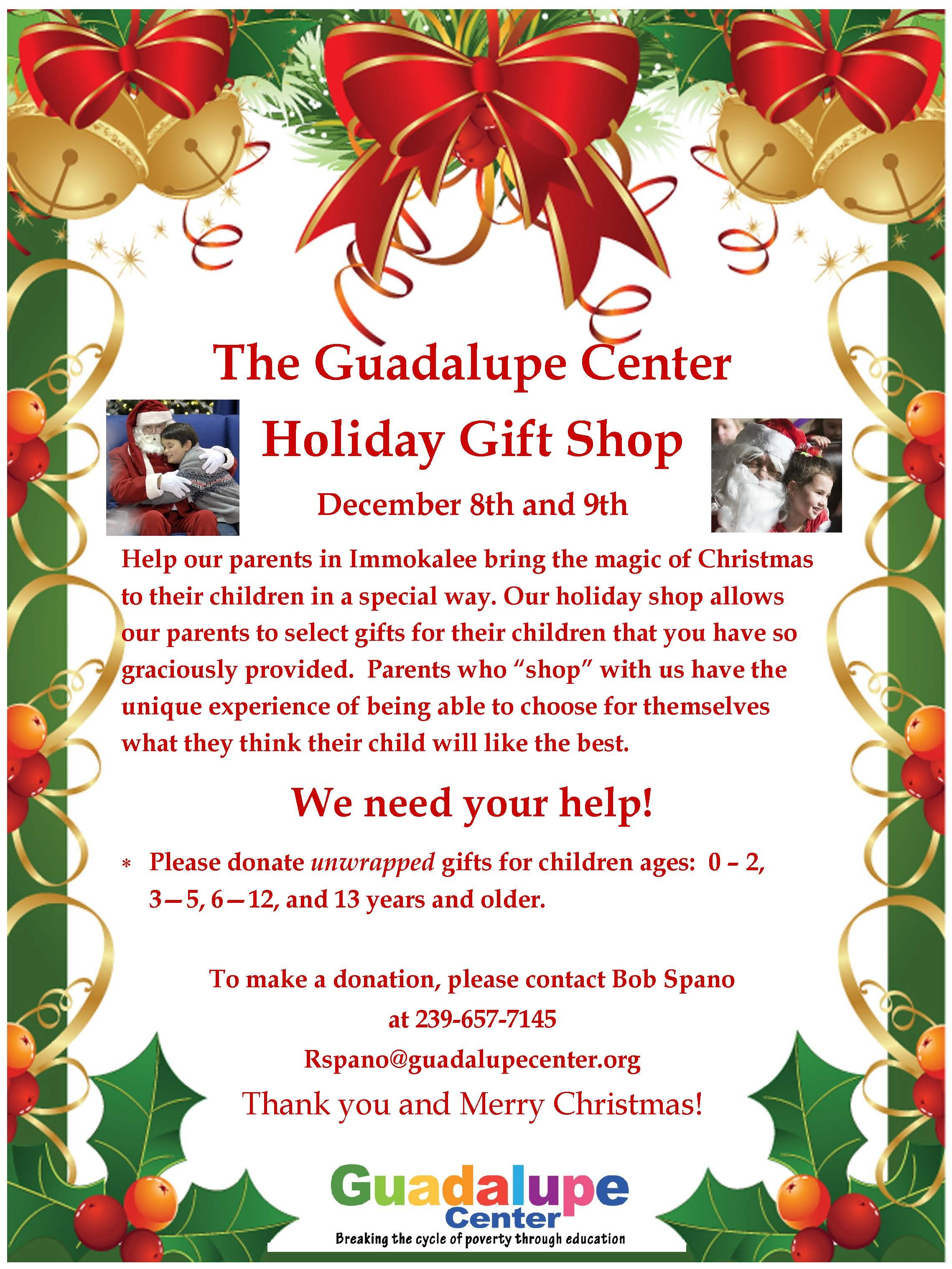 Holiday Gift Shop Support Us Guadalupe Center