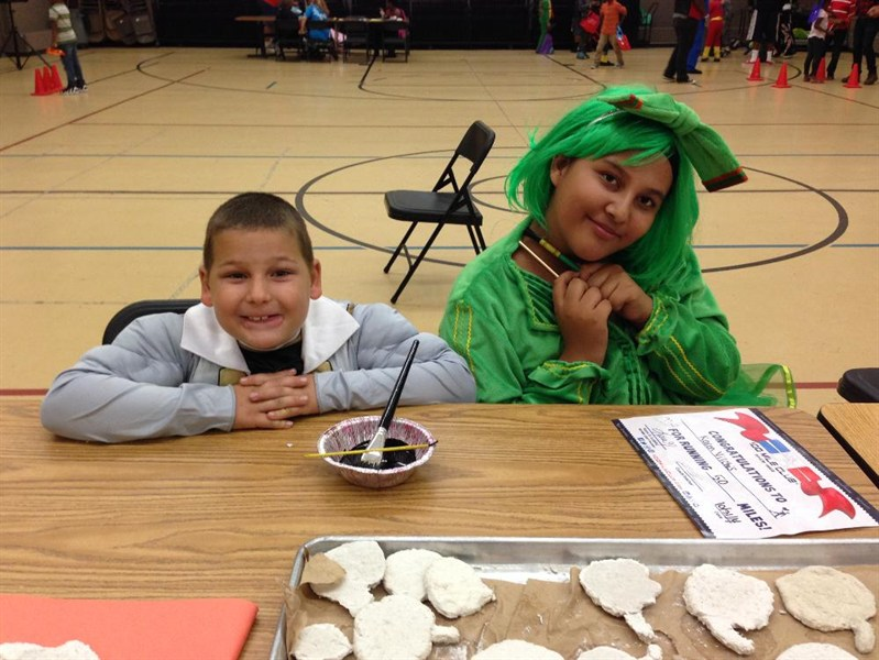 Students dressed in costumes.