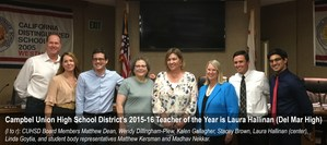 Laura Hallinan C.U.H.S.D. 2015-16 Teacher of the Year picture 2
