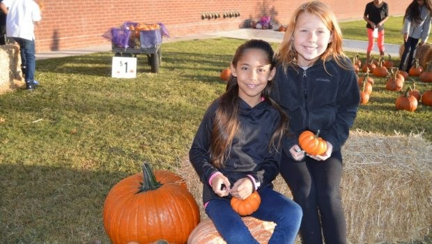 Upland Heights Students with Pumpkins