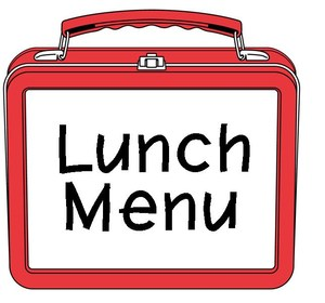 Red and white lunch box with lunch menu written on it