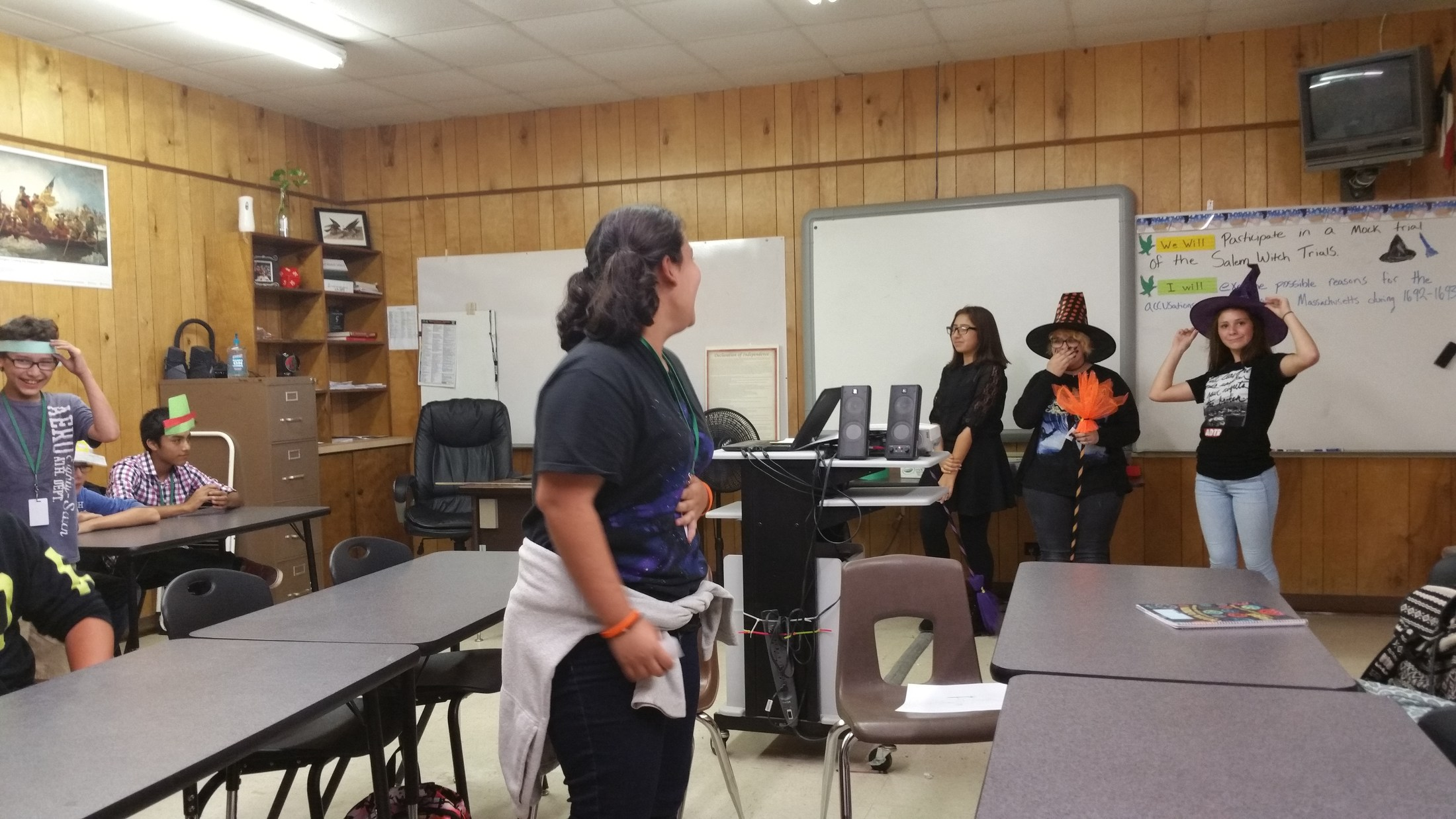 Students participating in mock Salem Witch Trials