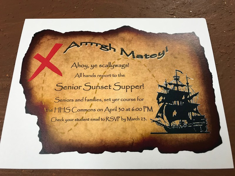 Pirate themed senior sunset supper ticket