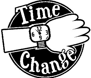 Watch showing on a wrist with the words TIME CHANGE on it