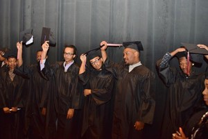 Graduates backstage at Invictus High School Cleveland