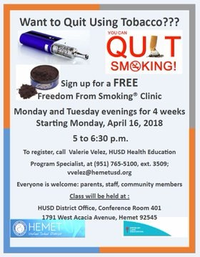 Quit Smoking Class Flyer