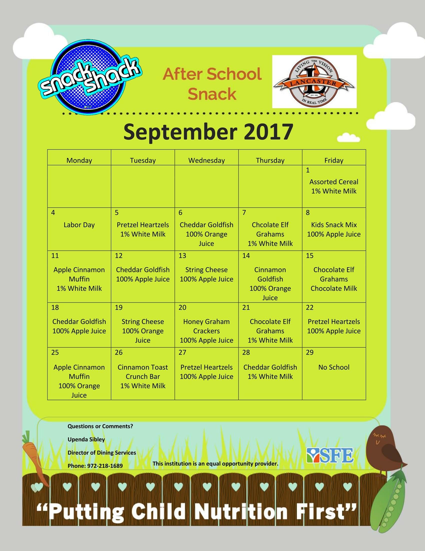 Image of September 2017 snack menu