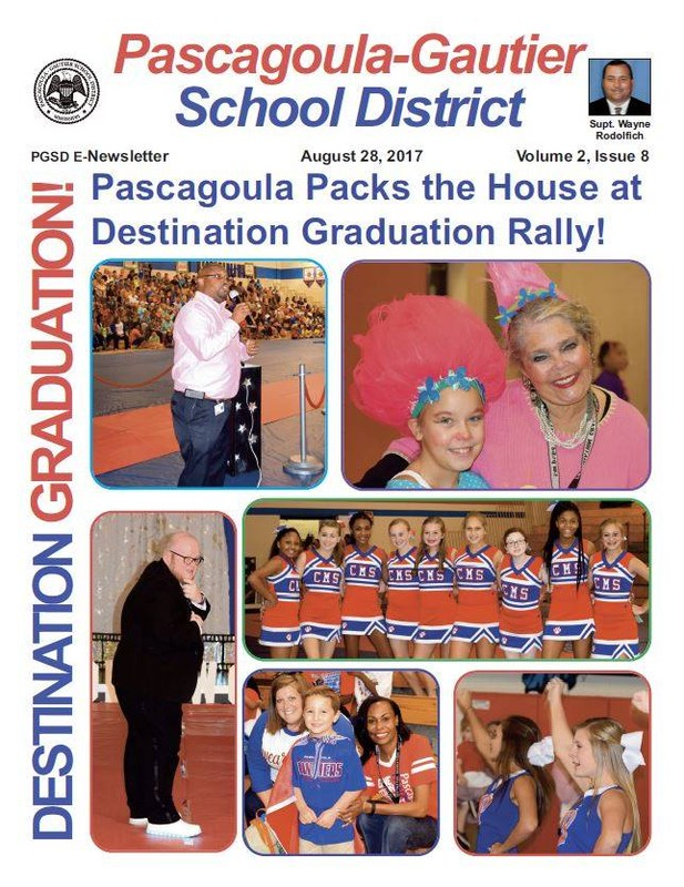 E newsletter of Pascagoula Community Pep Rally. Pictures include Stewart Smirthwaite, Anthony Herbert, PHS Cheerleaders, Shirley Hunter, and students