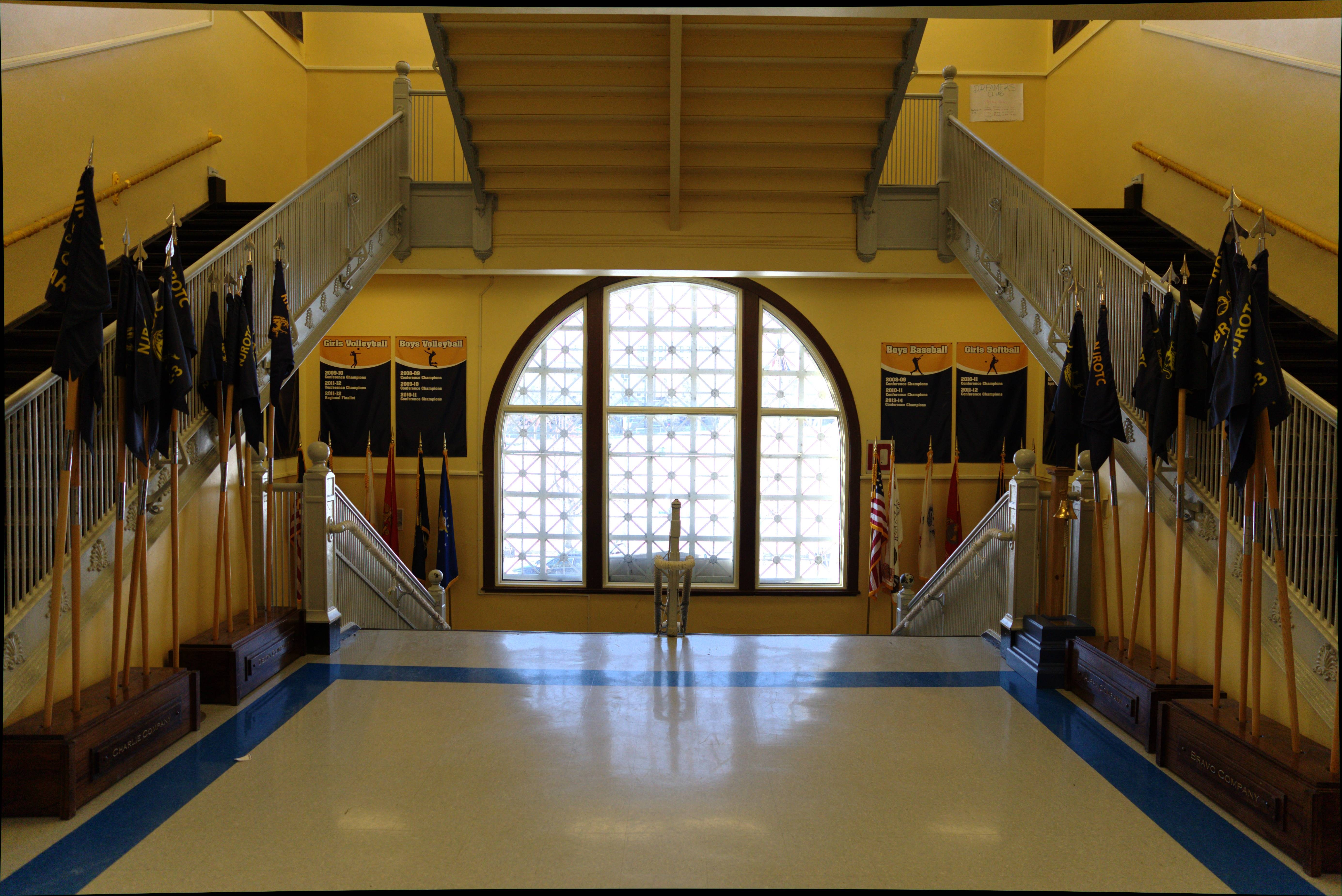 Large picture window on the second deck of the school